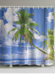 Palm Tree Beach Print Waterproof Bathroom Shower Curtain -