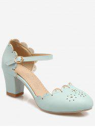 Plus Size Block Heel Scallop Chic Pumps -