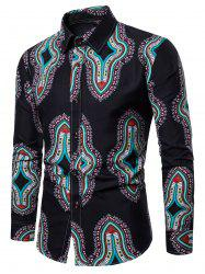 All Over Ethnic Geometric Print Long Sleeve Shirt -