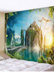 Wall Hanging Art Mountain Top Castle Print Tapestry -