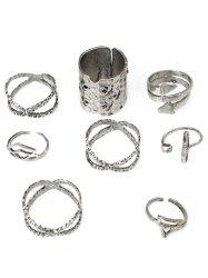 Bohemian Hollow Out Carved Metal Ring Set -