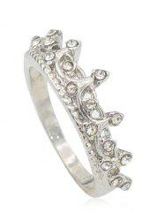 Sparkling Rhinestone Inlaid Crown Wedding Ring -