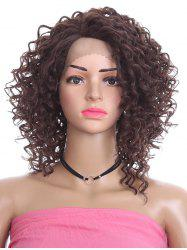 Short Oblique Bang Curly Lace Front Synthetic Wig -