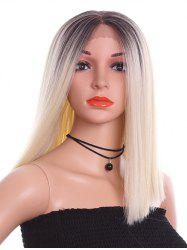 Medium Center Parting Colormix Straight Synthetic Lace Front Wig -