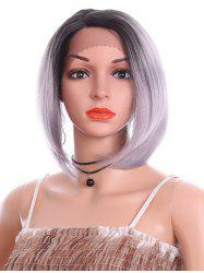 Short Side Parting Straight Bob Lace Front Synthetic Wig -