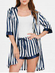 Half Sleeve Vertical Stripe Pajamas -