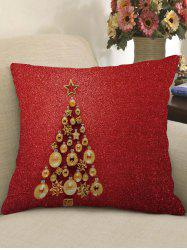Christmas Tree Print Decorative Linen Pillowcase -