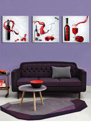 3Pcs Red Wine Glass Print Split Canvas Paintings -