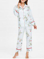 Flower Printed Satin Sleepwear Set -