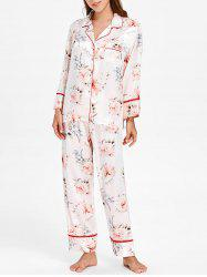Floral Printed Satin Nightgown Set -