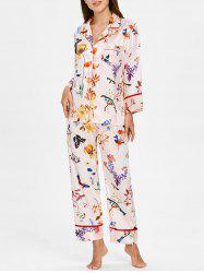 Flower Butterfly Printed Satin Nightgown Set -