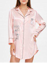 Bear Printed Sleepwear Shirt Dress -