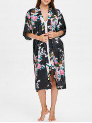 Flower Printed Sleeping Robe with Belt -