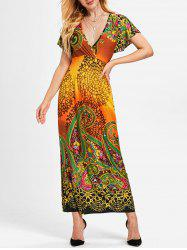 Plunging Neckline Ethnic Print Long Dress -