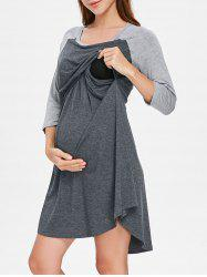 Round Collar Color Block Maternity Sleep Dress -