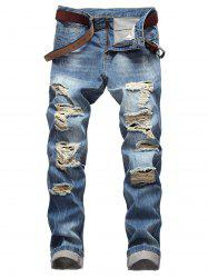 Casual Zipper Fly Ripped Straight Jeans -