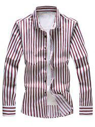 Stripe Print Long Sleeve Shirt -