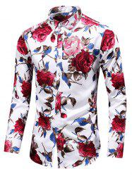 Rose Print Button Up Casual Shirt -