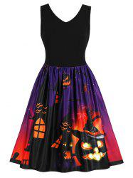 Halloween Retro Pumpkin Print Flare Dress -
