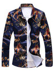 Tiger Print Button Up Shirt -