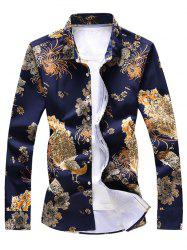 Peacock and Flower Print Button Up Shirt -