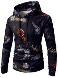 Rose Tiger Print Pocket Elastic Fleece Hoodie -