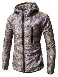 Camo Print Zip Embellished Hooded Jacket -