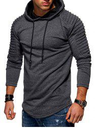 Solid Pleated Sleeve Hem Curved Long Fleece Hoodie -