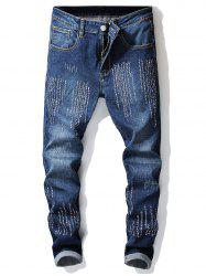 Embroidery Letters Men Head Skinny Jeans -