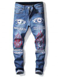 Ripped Earth Eye Letters Embroidery Jeans -