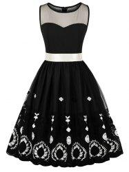 Mesh Panel Embroidery Skater Dress -