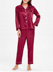 Satin Nightgown Set with Pocket -