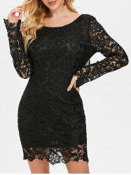 Chiffon Panel Low Back Lace Dress -