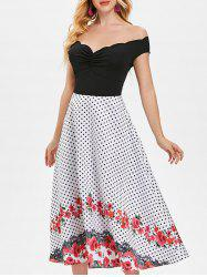 Polka Dot Floral Trim High Waist Dress -