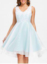Lace Trim Fit and Flare Dress -