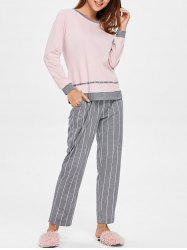 Sleep Set Color Block Top with Striped Pants -
