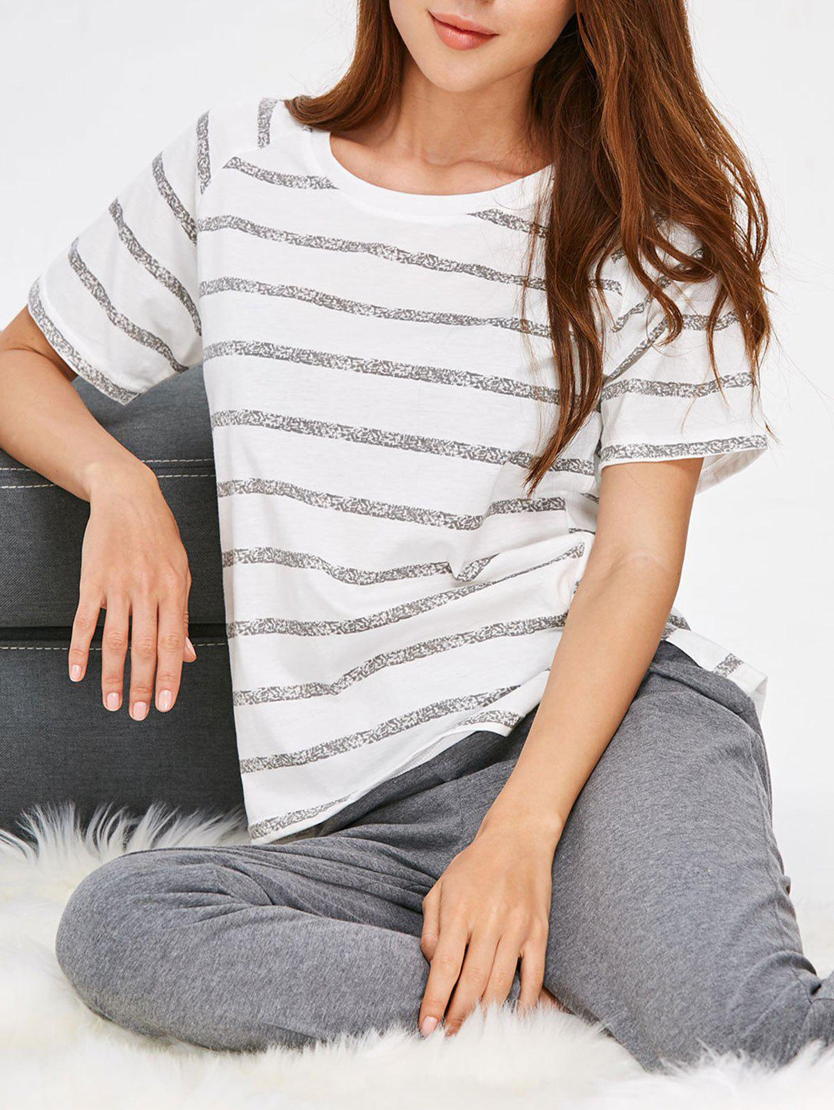 Affordable Sleep Set Slit Striped Top and Pants