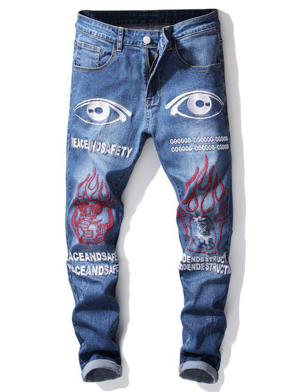 Affordable Ripped Earth Eye Letters Embroidery Jeans