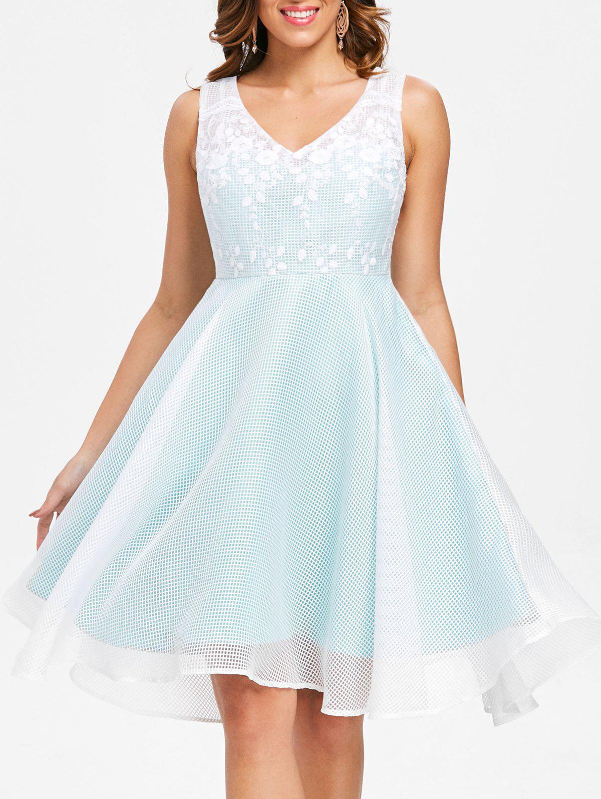 Hot Lace Trim Fit and Flare Dress