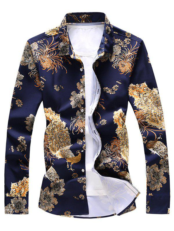 Unique Peacock and Flower Print Button Up Shirt