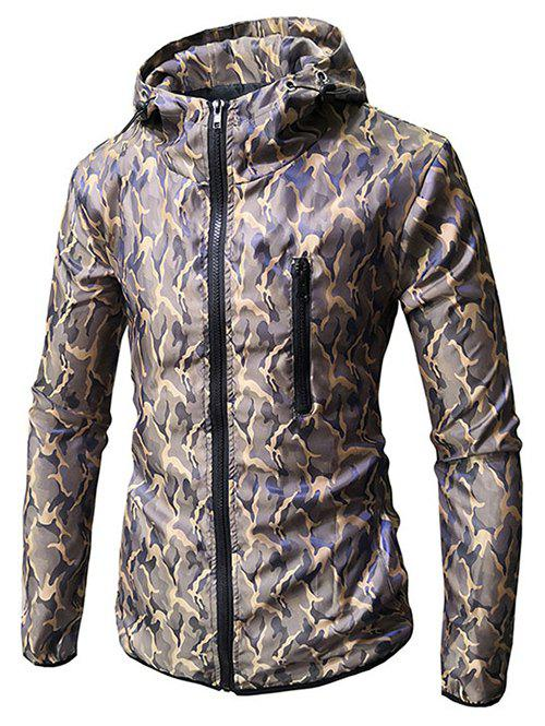 Outfit Camo Print Zip Embellished Hooded Jacket