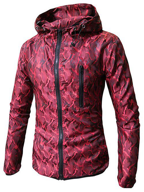 Cheap Camo Print Zip Embellished Hooded Jacket