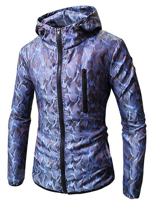 Online Camo Print Zip Embellished Hooded Jacket