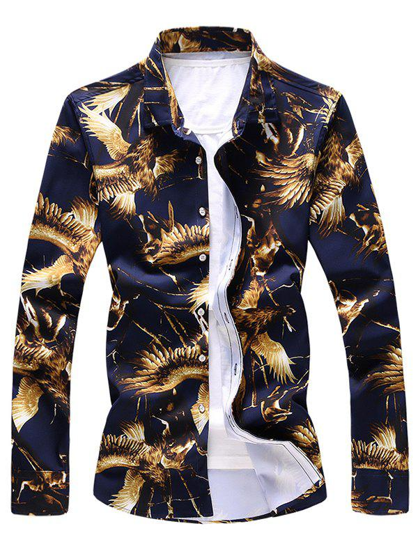 Fashion Hawk Print Long Sleeve Shirt