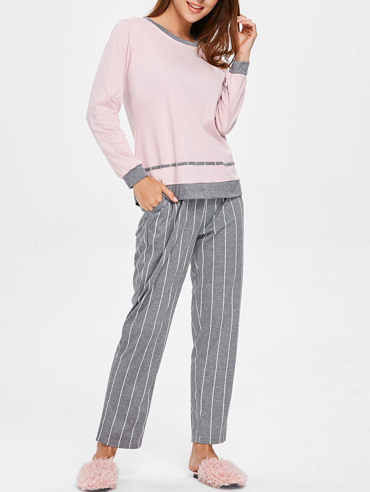 Unique Sleep Set Color Block Top with Striped Pants