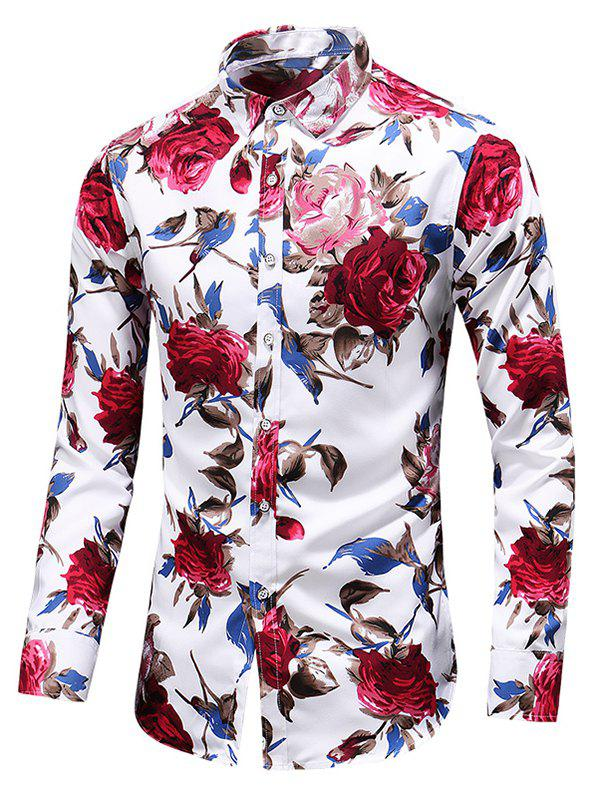 Shop Rose Print Button Up Casual Shirt