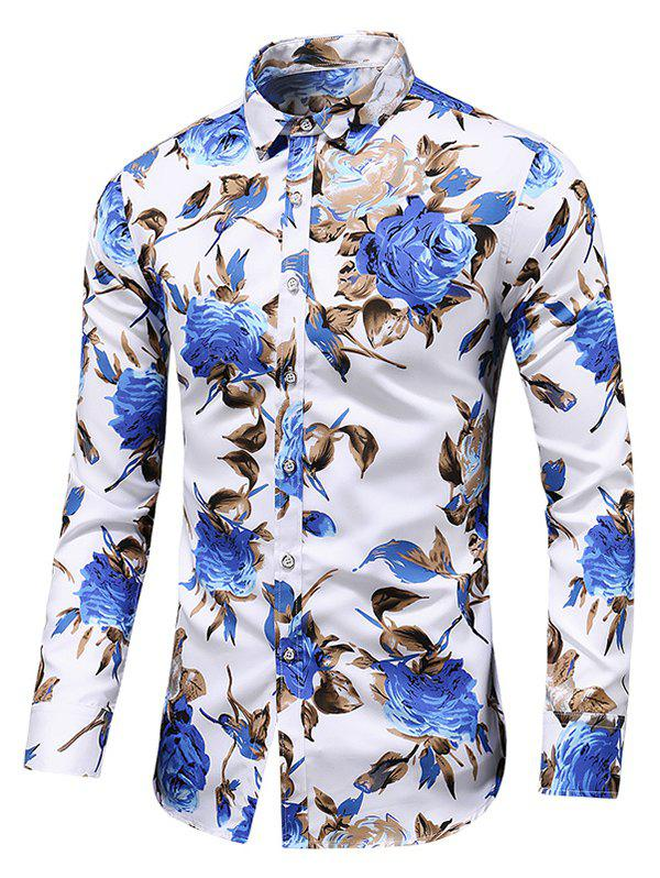 Latest Rose Print Button Up Casual Shirt