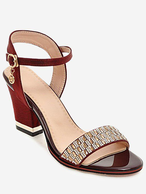 New Plus Size Rhinestone Dazzling Buckled Party Sandals