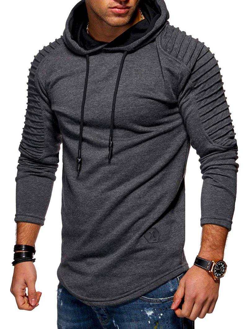 Sale Solid Pleated Sleeve Hem Curved Long Fleece Hoodie