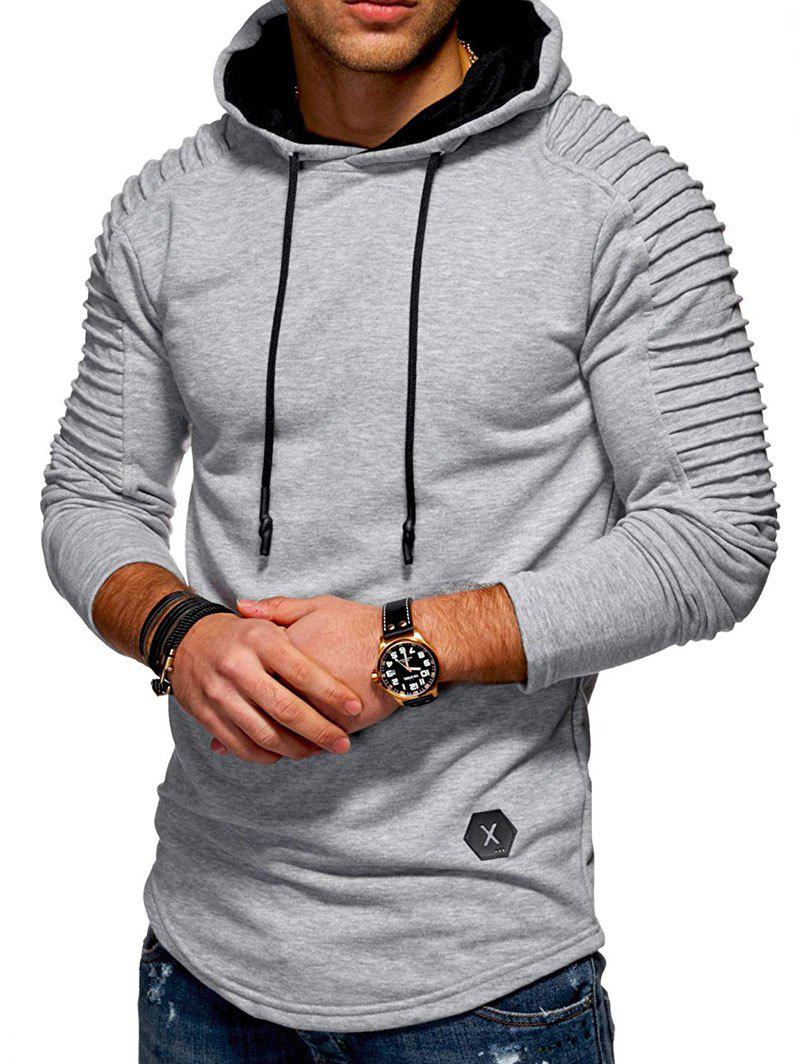 Buy Solid Pleated Sleeve Hem Curved Long Fleece Hoodie